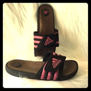 Adidas pink and black slides size 8